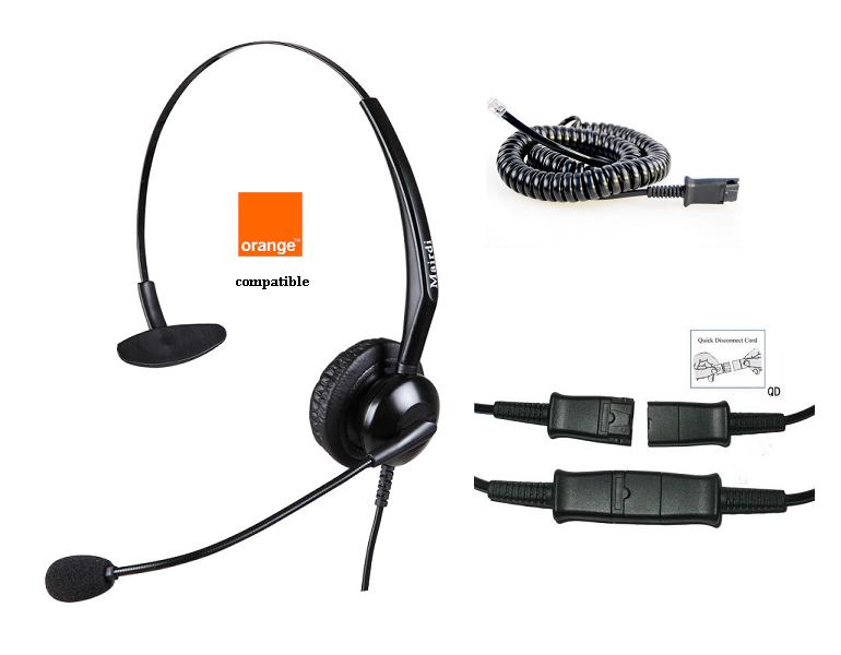 -Cascos Específicos para Telfs. Orange GSM con cable QD/RJ9