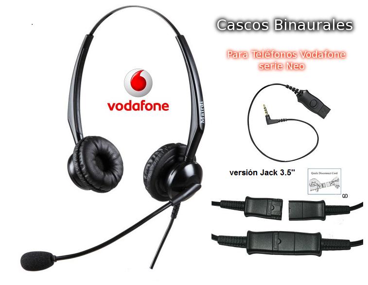 Cascos Binaural Específicos para Telefonos Vodafone Neo jack 3.5