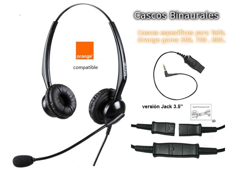"""Cascos Binaural Específicos para Telfs. Orange con Jack 3.5"""""""