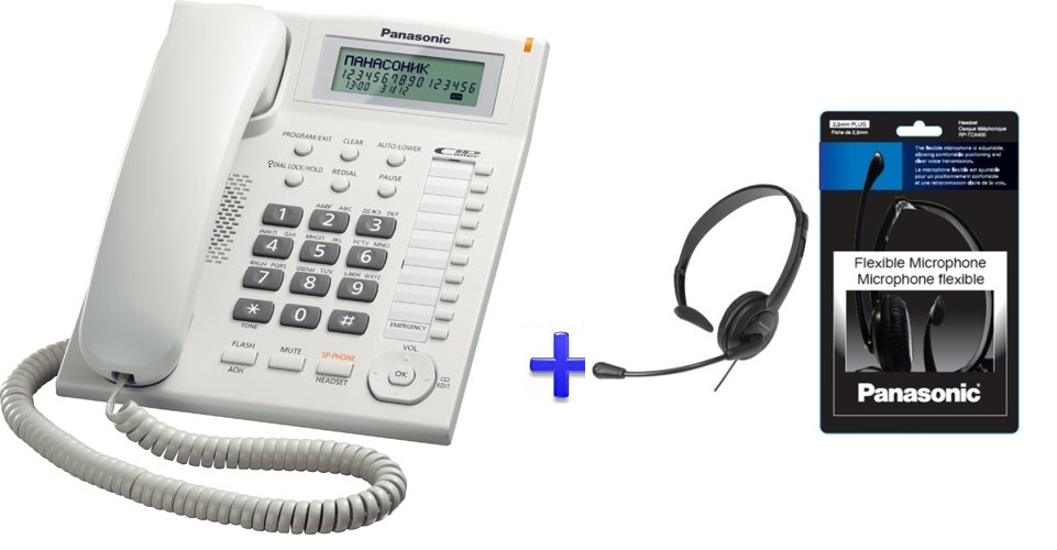 Panasonic Feature Phone With Plantronics Headsets Kx Ts880
